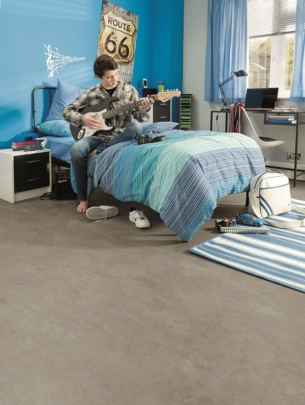 Achieve A Modern Look For Your Teens Bedroom With This Easy To Maintain  Polished Concrete Luxury Vinyl Sheet Flooring.