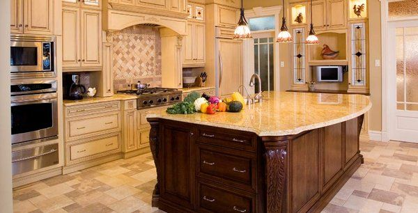 Wood Cabinets With Painted Island | Large Island In Kitchen With Stone  Countertop, Carved Wood