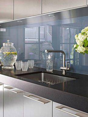 Glas küchenrückwand fliesenspiegel  fliesenspiegel glas küchenrückwand plexiglas blau | rehbein ...