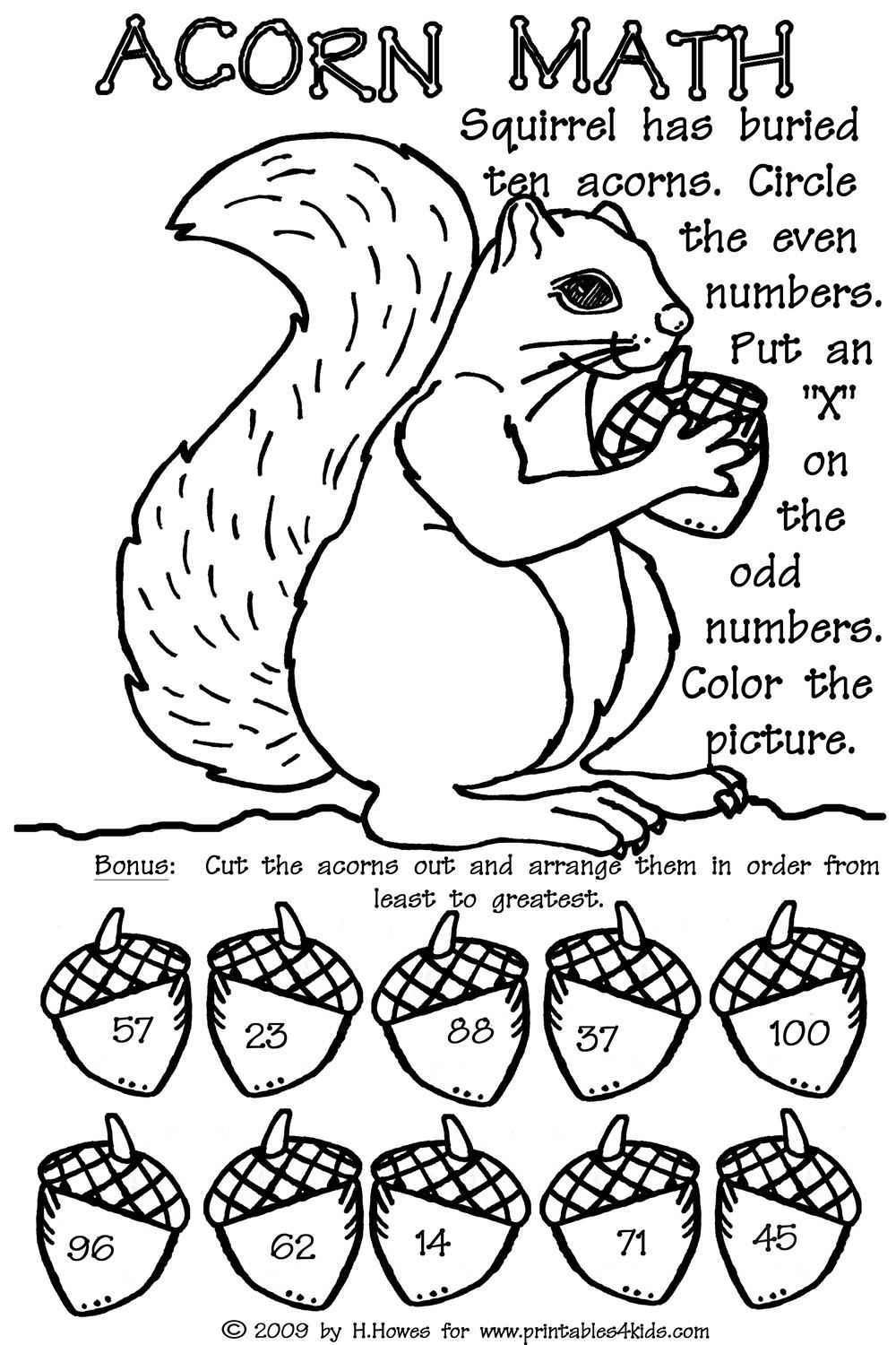 Odd and Even Double Digit Fall Math Worksheet : Printables for Kids ...