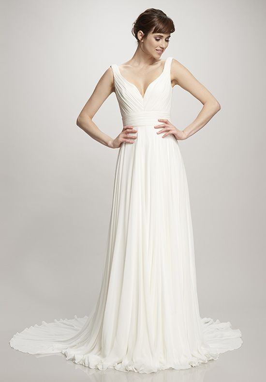 Ivory Silk Chiffon gown with rouched bodice and waist | INSPIRE ...