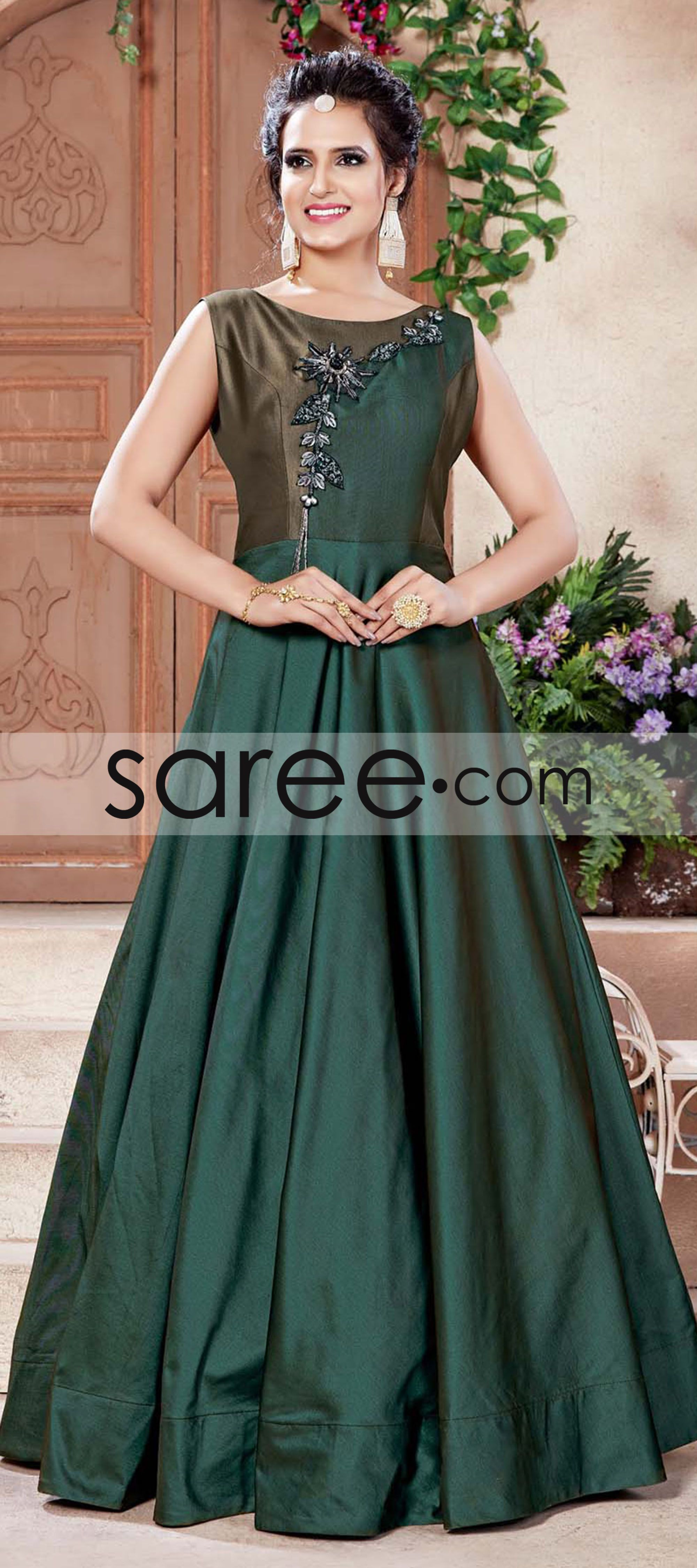 087d459b1d Sacramento Green and Coffee Brown Silk Anarkali Style Desinger Gown with  Zari