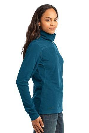 Eddie Bauer - Ladies 1/4-Zip Grid Fleece Pullover Style EB221 Adriatic Blue Side  #pullover #sweatshirt #eddiebauer