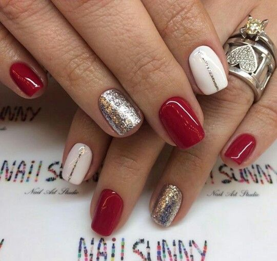 Red And Golden Nails Festival Nails Xmas Nails Luxury Nails