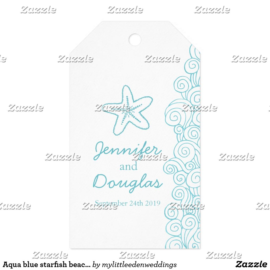Aqua blue starfish beach wedding favor tag | Beach wedding favors ...
