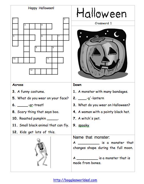 find more halloween crossword fun at httpbogglesworldeslcom - Bogglesworld Halloween