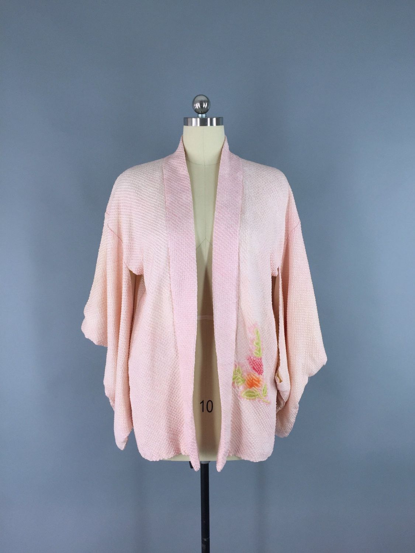 1950s Vintage Silk Haori Kimono Cardigan Jacket / Pastel Pink ...