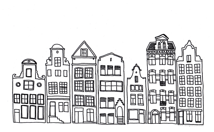 Line Drawing Buildings : Drawings of buildings in a row simple black and white