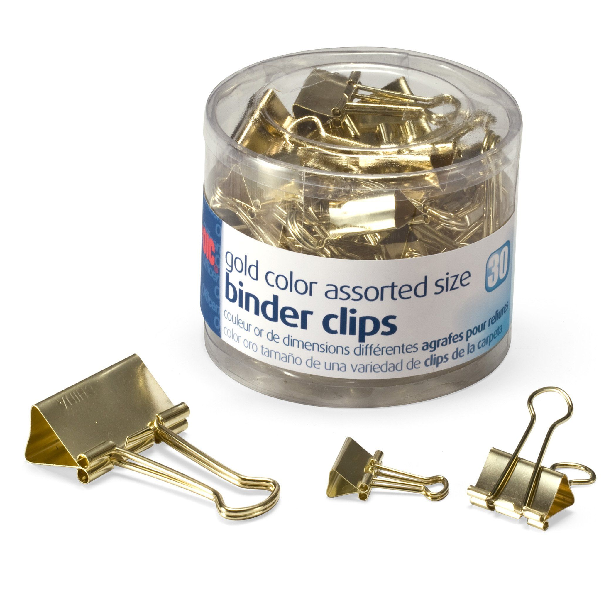 Amazon com : Officemate Binder Clips, Gold, Assorted Sizes