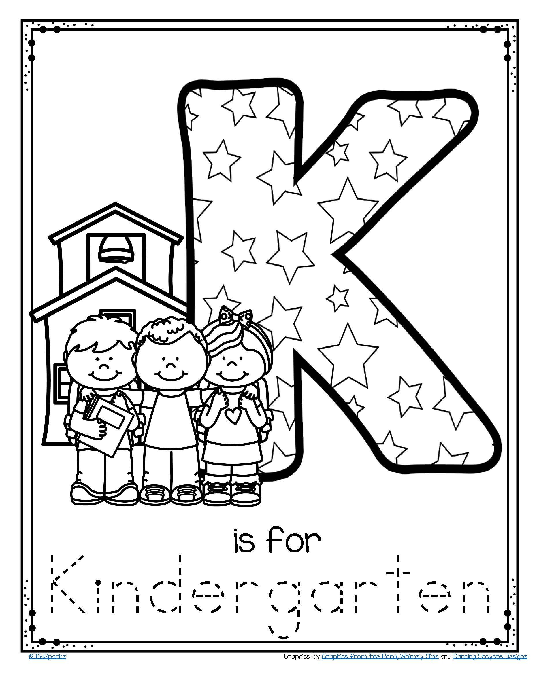 Letter K Is For Kindergarten Trace And Color Printable