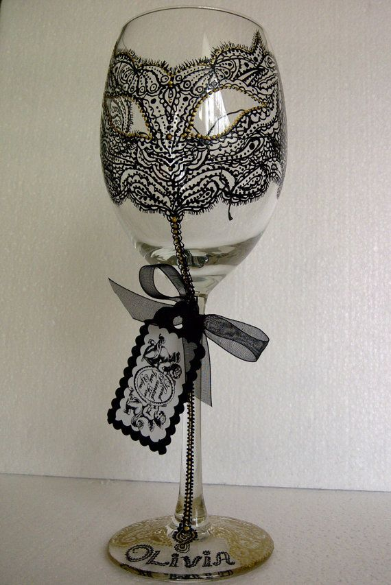 Personalized Hand Painted Lace WINE Glass goblet by AlenaShop, $20.99