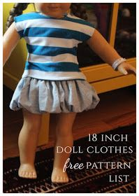 List of free American girl doll clothes patterns. #americandolls