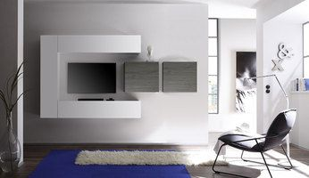 Ensemble tv mural design nina 2 laqu blanc brillant bois gris salon des - Ensemble tv mural laque ...