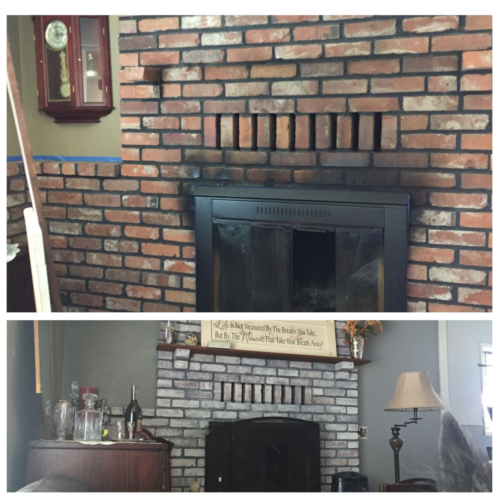 updated before and after whitewashed fireplace painted brass to