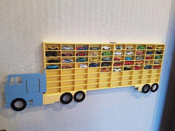 Hot Wheels Boys Wood Truck Display Case Toy Matchbox Storage Playroom Wooden Shelf Rack Gift Wall Decor Bedroom Room Kids Hranenie Stellazh Idei