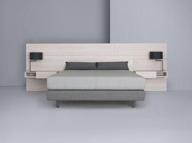 La t te de lit transformera la d co de votre chambre id es d co vrac lit lit bois et tete - Tete de lit table de nuit ...