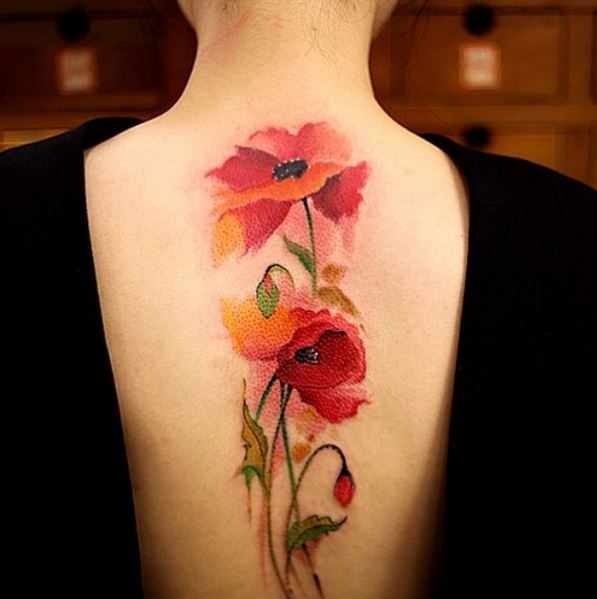 54 Absolutely Fabulous Colorful Tattoo Designs Blumen Tattoo Rucken Blumen Tattoos Und Mohnblumen Tattoo