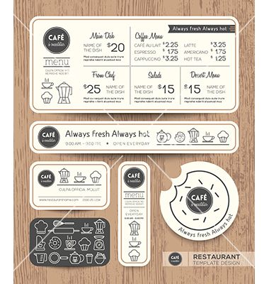 Restaurant Cafe Set Menu Graphic Design Template Vector Cooking
