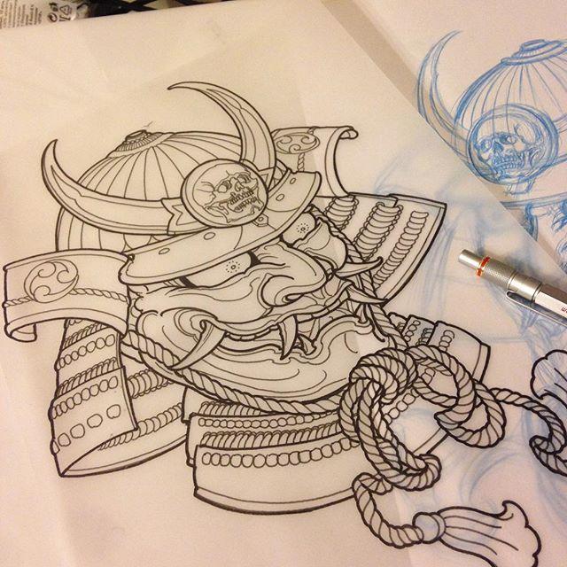 onisamurai tattoosketch oni demon samurai