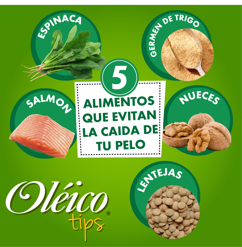 5 Alimentos Para Evitar La Caída De Cabello Salmón Germen De Trigo Espinaca Lentejas Y Nueces Alimentos Para Mascotas Súper Alimentos Aceite Comestible