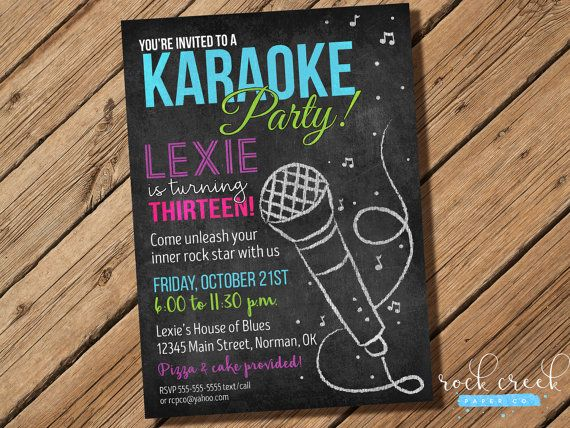 Karaoke Chalkboard Invitation Karaoke Birthday Party