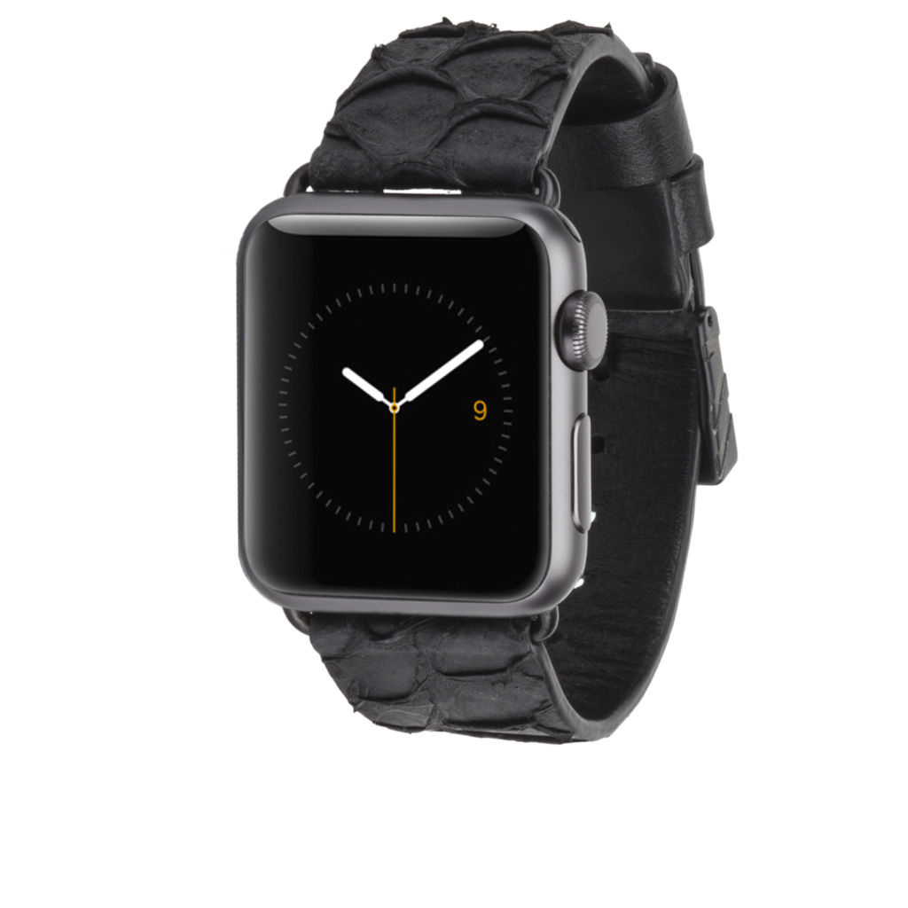 Apple Watch 38mm Ebony Scaled Leather Band l Casemate