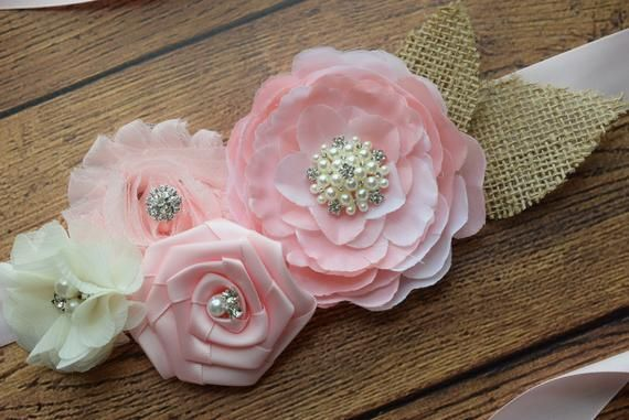 flower Belt maternity sash Flower Sash,pink grey sash
