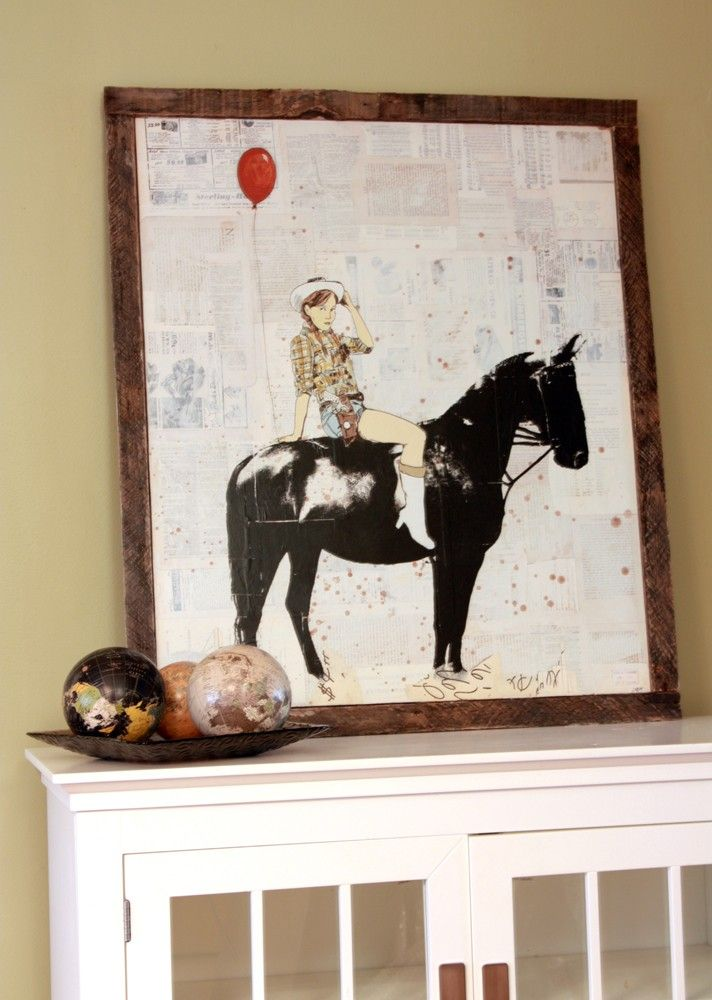 The Birthday Party (Cowgirl) original equestrian art by Dolan Geiman