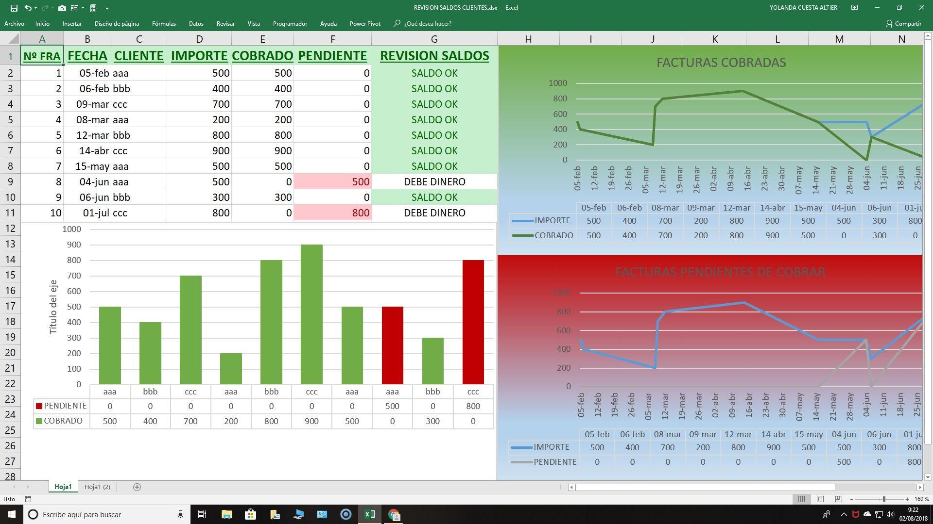 Excel Pagos Facturas Para El Control De Cobros A Clientes Hojas De Cálculo Facturas Cursillo