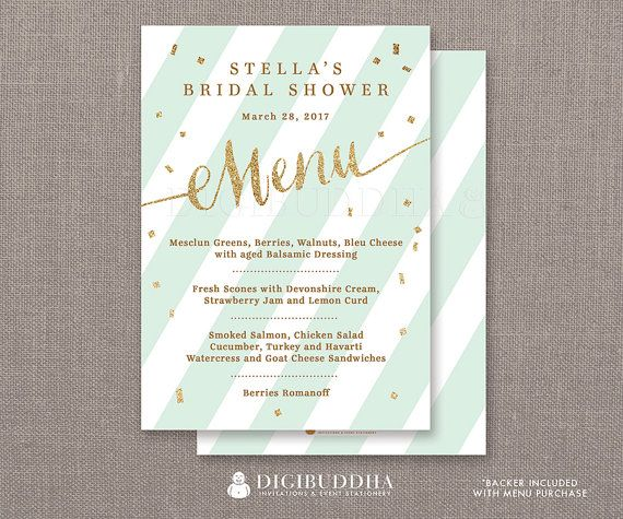 mint gold menu bridal shower party menu mint stripes gold glitter confetti lunch brunch dinner confetti diy printable or printed stella style available