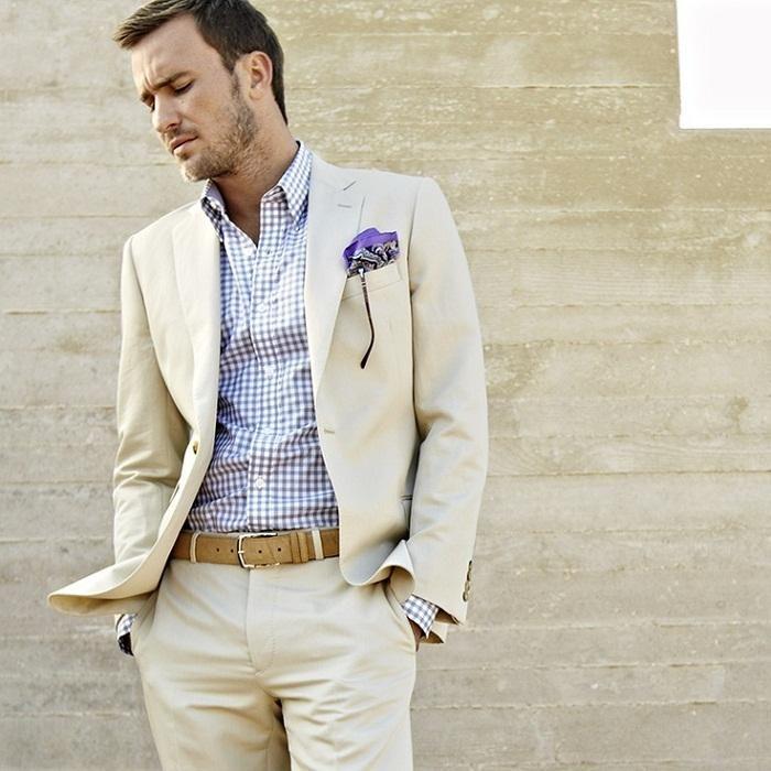 2015 Beige Summer Linen Men Suits Wedding Suits For Men Notched ...