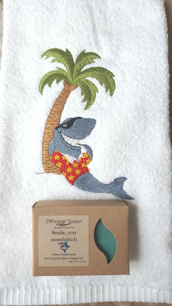 b0fec46de0 Shark Week gift, Jaws Inspired gift, shark lover gift, embroidered shark  towel, ocean scent soap, s