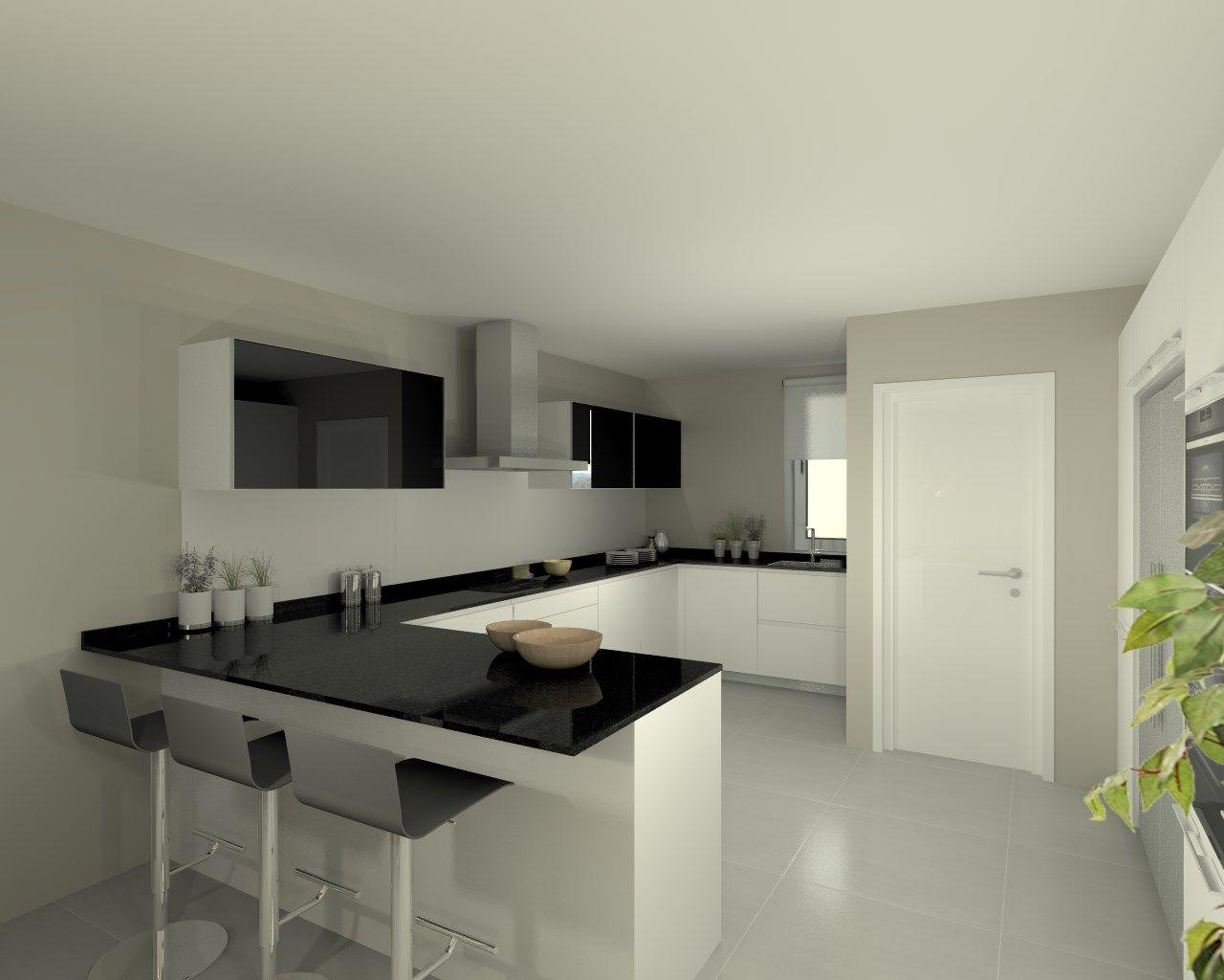 Modelo line e blanco encimera granito negro cocinas - Cocina blanca encimera negra ...