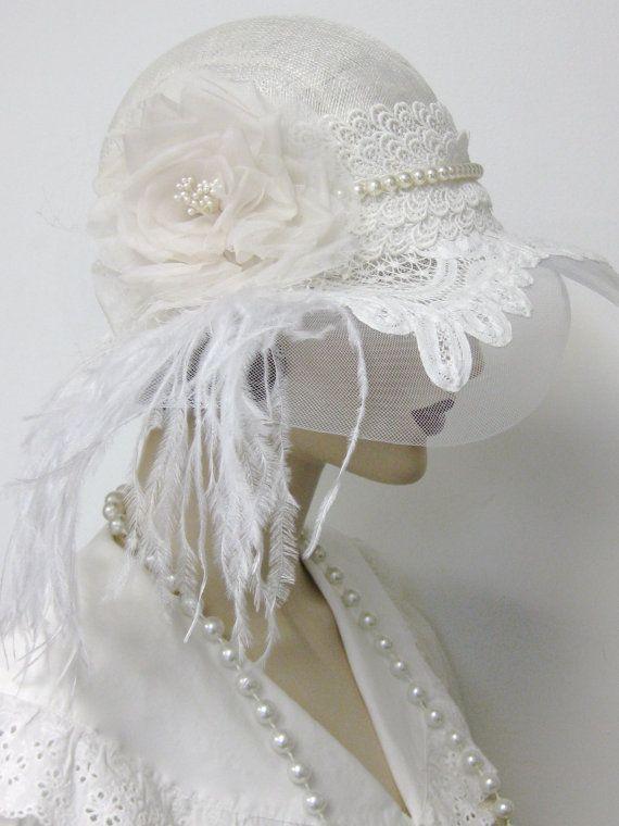 1920 Flapper boda Cloche/reservado para por ThistleCottageStudio ...