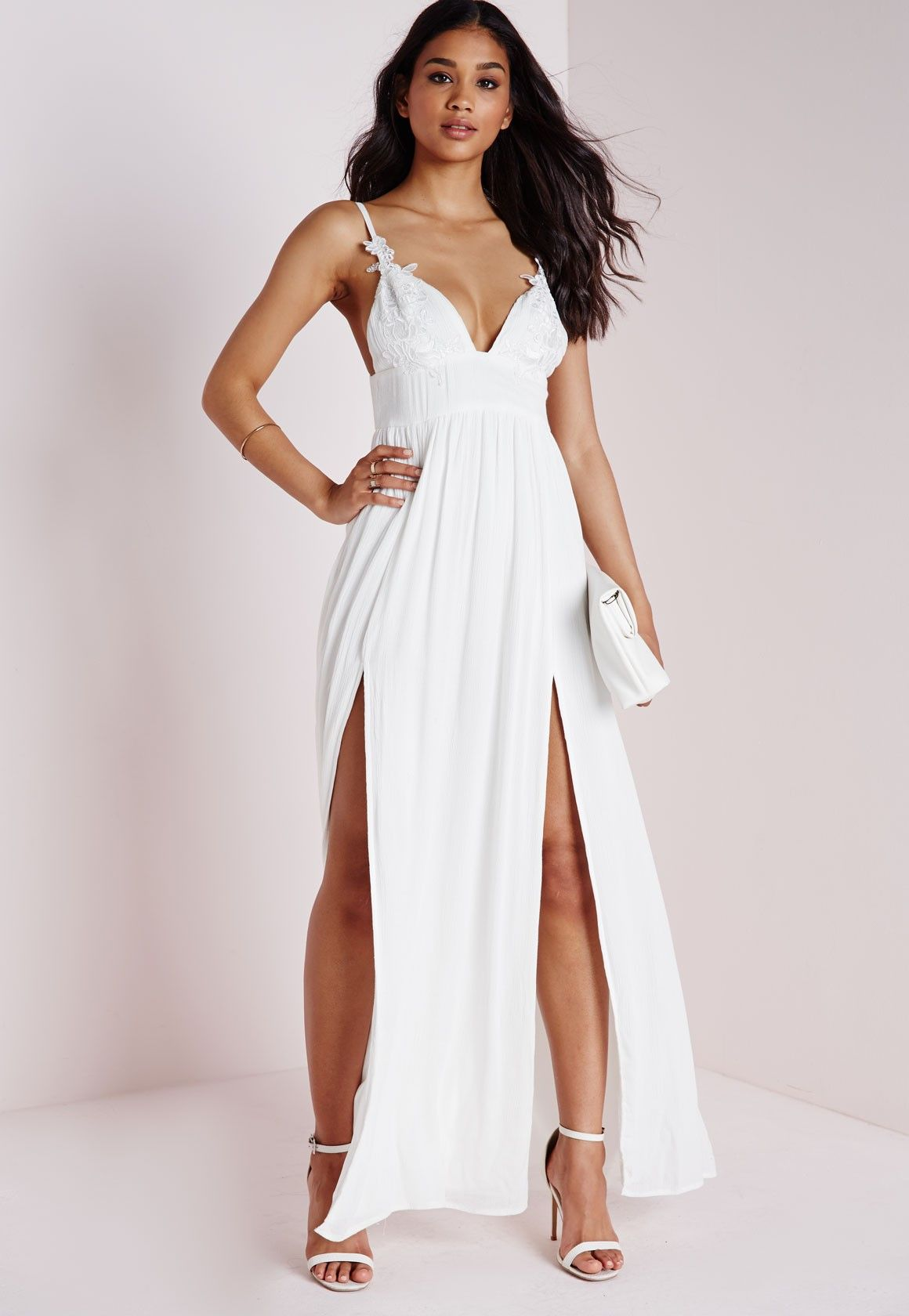ce7a2059eb3c Cheesecloth Floral Applique Strappy Maxi Dress White - Dresses - Maxi  Dresses - Missguided