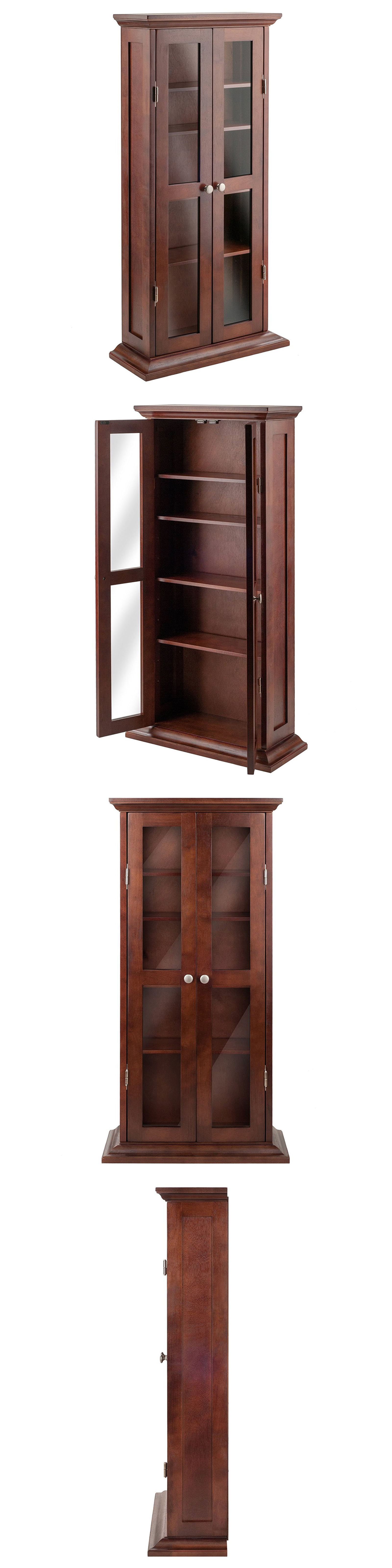CD and Video Racks Media Storage Cabinet With Doors Wood