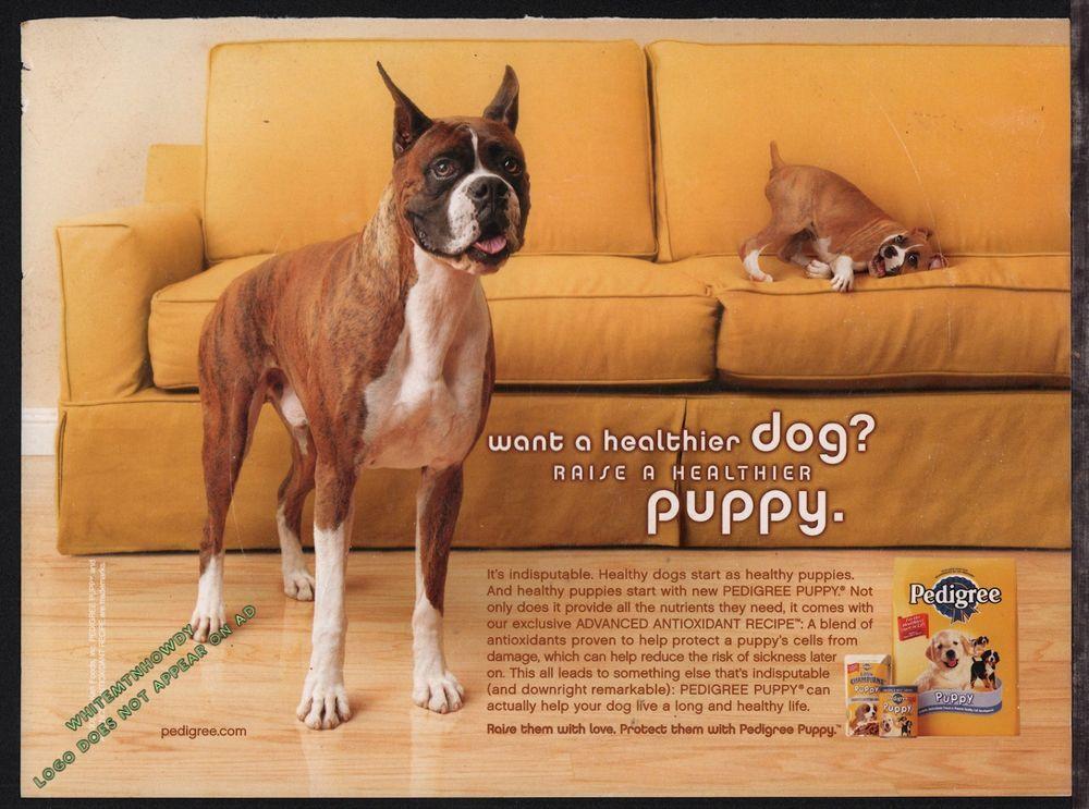 2002 boxer puppy pedigree dog food vintage photo ad