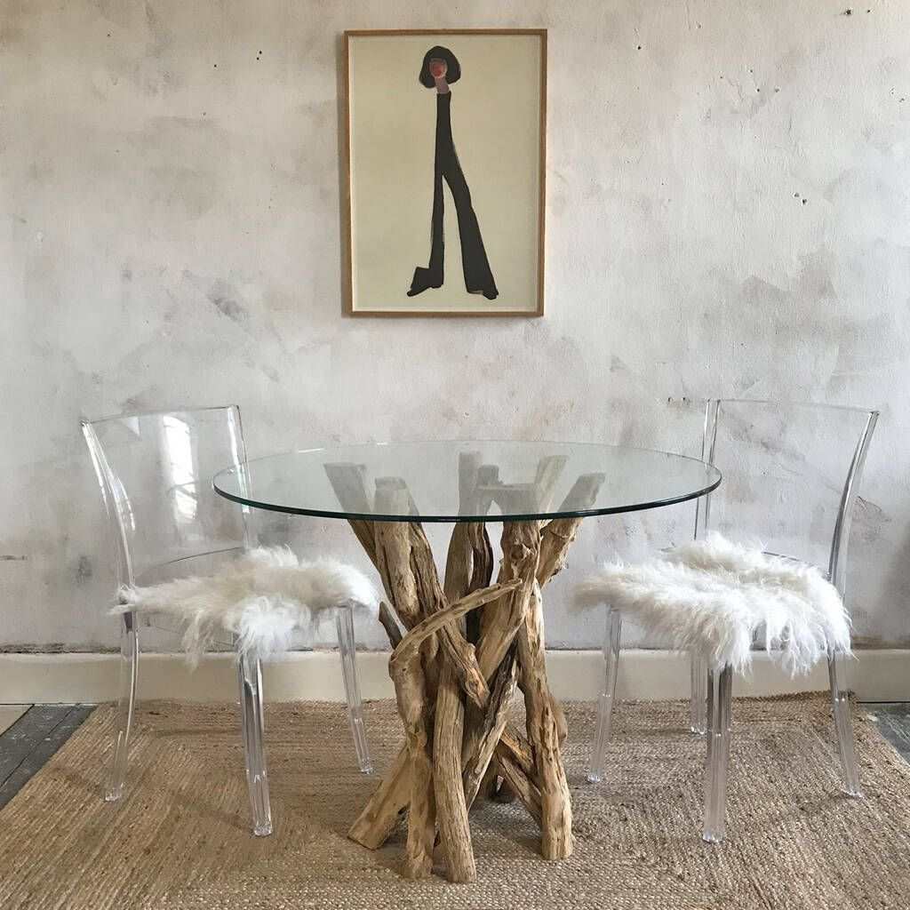 Small Driftwood Round Dining Table To Seat Four In 2019 Dining Table Round Dining Table Glass Round Dining Table
