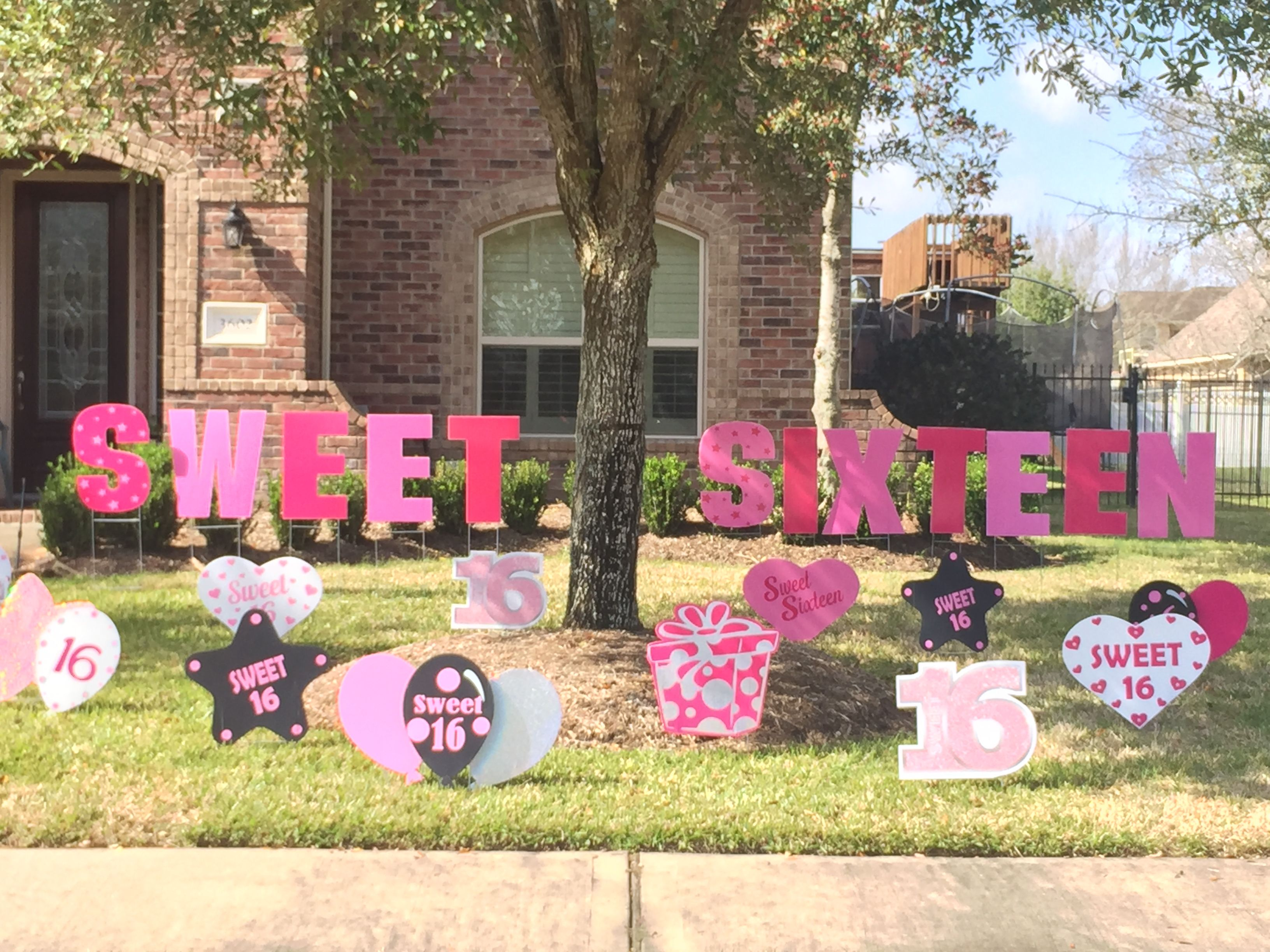 Introducing Our Beautiful New Sweet Sixteen Lawn Letters Along With Our Awesome Bling Sweet 16 Sweet 16 Sign Diy Birthday Decorations Birthday Yard Signs