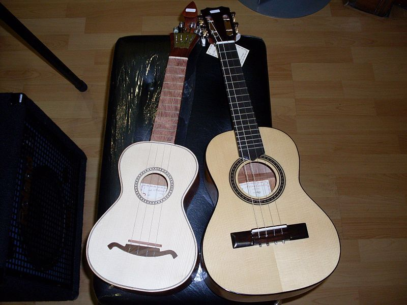 The cavaquinho is a small string instrument of the European guitar family with four wire or gut strings. It is also called machimbo, machim, machete (in the Portuguese Atlantic islands), manchete or marchete, braguinha or braguinho, or cavaco.