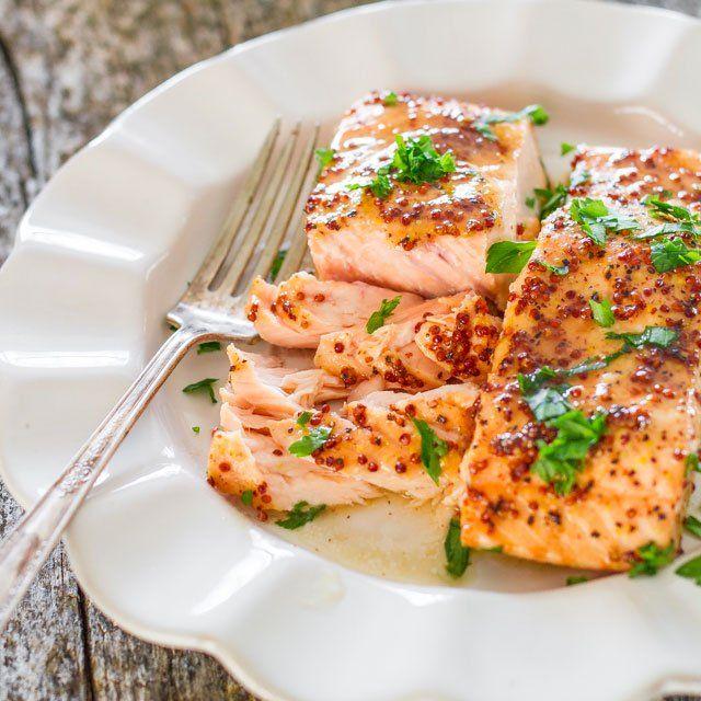 Maple Mustard Glazed Salmon - Jo Cooks