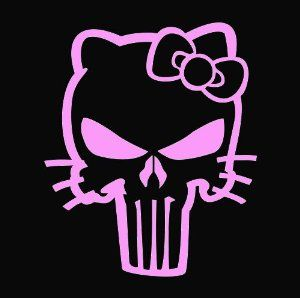 Amazoncom Hello Kitty Punisher Skull Decal Vinyl StickerCars - Hello kitty custom vinyl decals for car