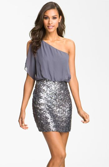Sequin One Shoulder Chiffon Dress