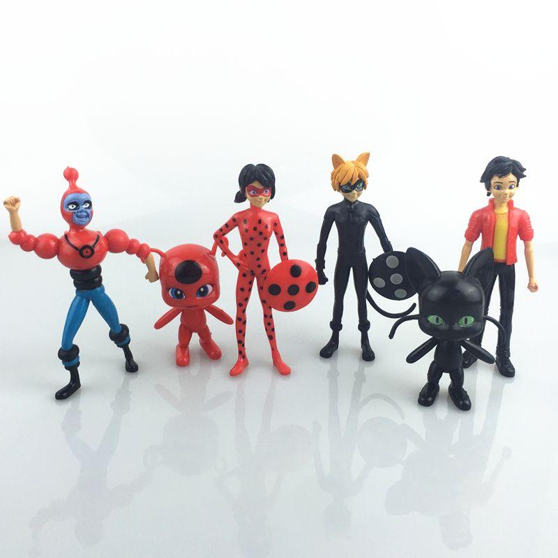 6Pcs Miraculous Ladybug Action Figure Puppe Spielzeug Geschenk