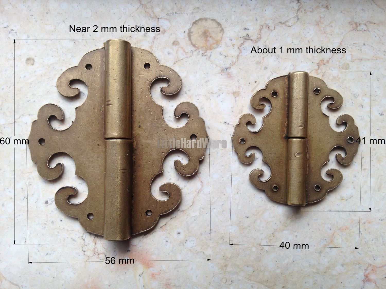 "Decorative Box Hinges 2 Pcs Brass Made ""tomahawk"" Metal Hinges  Brass Hinges"