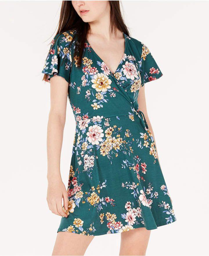 59693b23e81 Bcx Juniors  Printed Wrap Dress - Green XXS in 2019