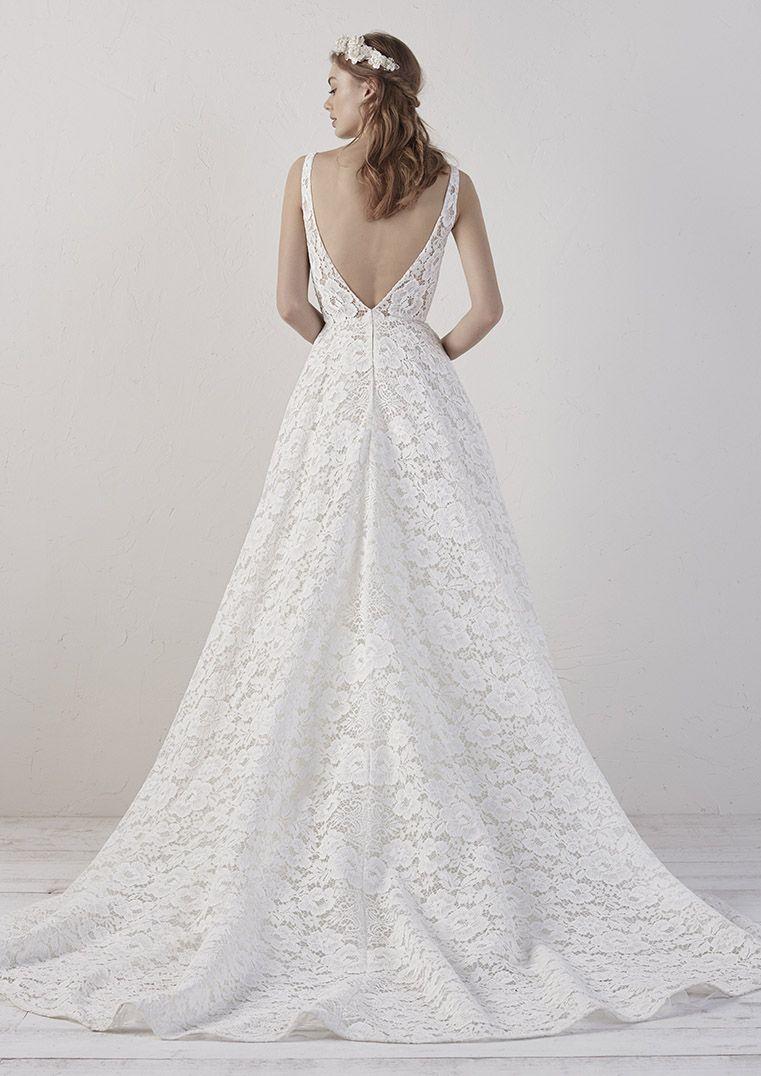 Brautkleid Pronovias, Brautmode 15, A-Linie, Spitze, tiefer