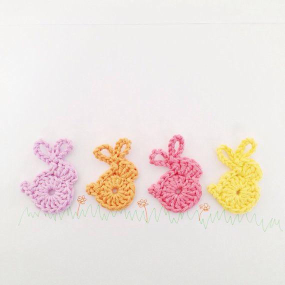 Crochet Bunnies Hair Clip Appliques - Set of 4 | Apliques, Huerta y ...