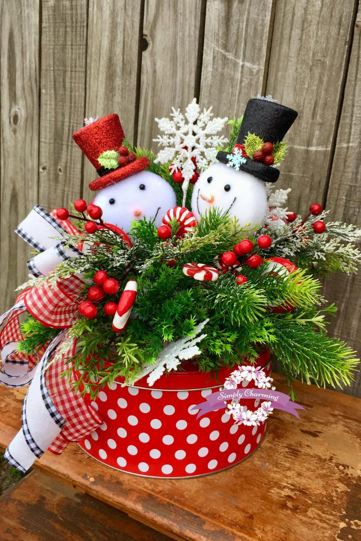 Snowman Centerpiece Whimsical Snowman Centerpiece Christmas Centerpiece Holida Christmas Centerpieces Diy Holiday Centerpieces Christmas Floral Arrangements