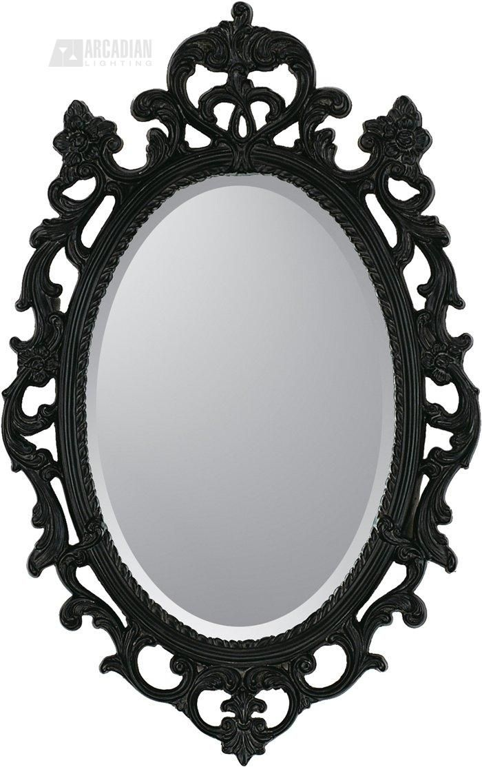 Black Ornate Traditional Oval Mirror Traditional Wall Mirrors